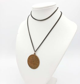 Vintage Coin with Ship Pendant Necklace