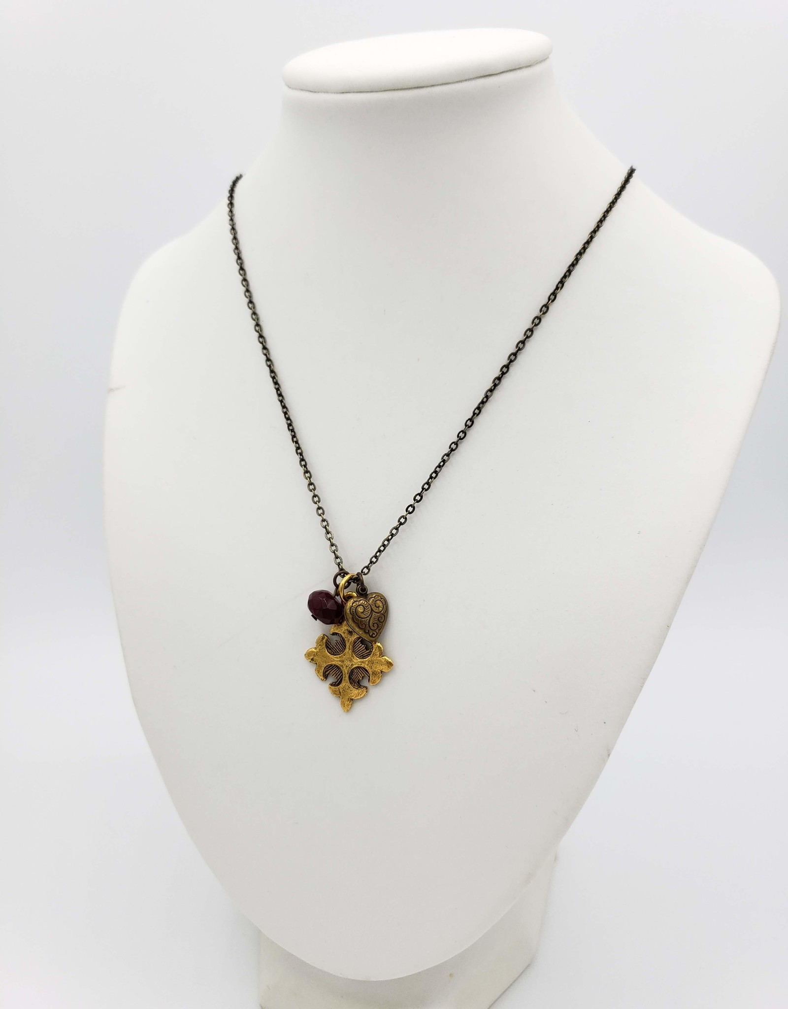 Redux Assemblage Necklace with a Heart, Cross and Red Faceted Glass Charms