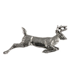 Pewter Whitetail Deer Leaping Large Pin/Brooch