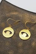 Kirsten Elise Jewelry Round Eye Earrings, brass