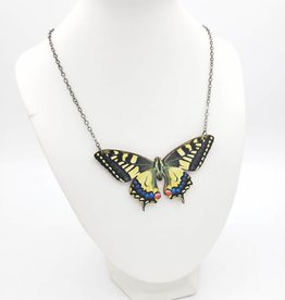 Green Tree Jewelry Swallowtail Butterfly Necklace Laser-cut Wood