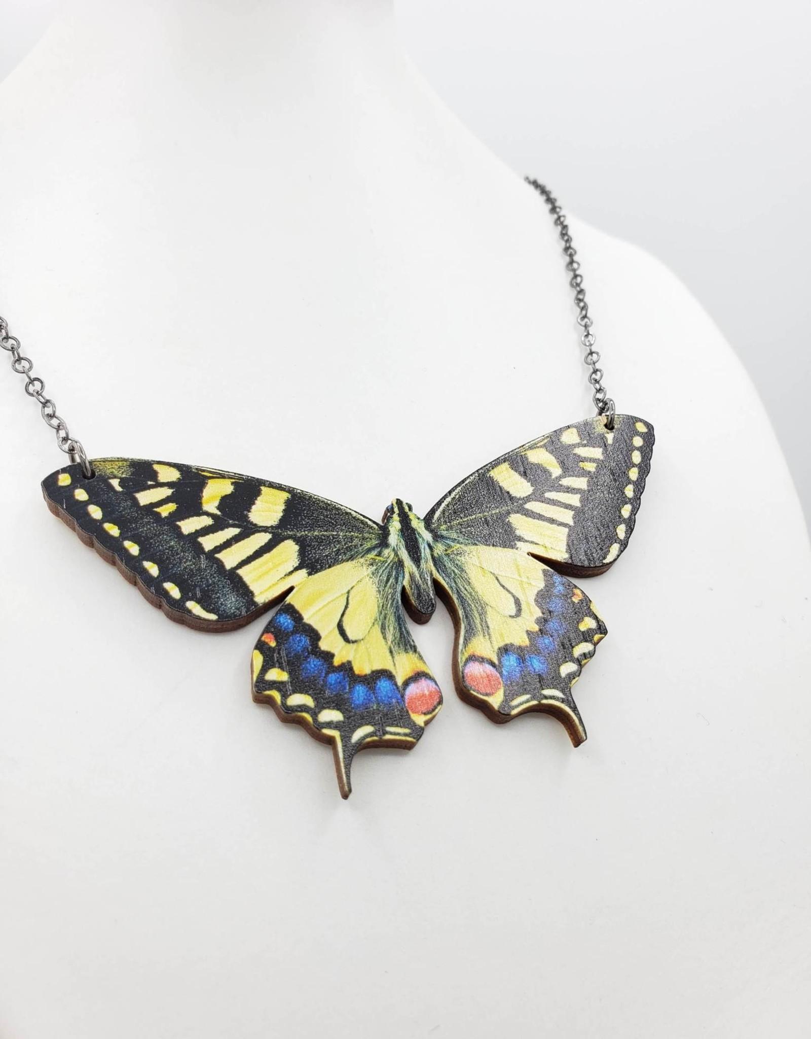 Green Tree Jewelry Swallowtail Butterfly Necklace Laser-cut Wood