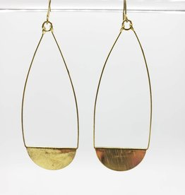 Gold Brushed Teardrop Earrings