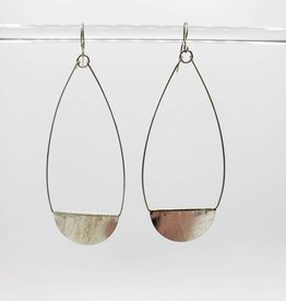 Teardrop Earrings Brushed Silver