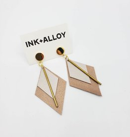 "Ink + Alloy 3.25"" Rose Gold & Oyster Leather + Brass Diamond Earrings - INK+ALLOY"