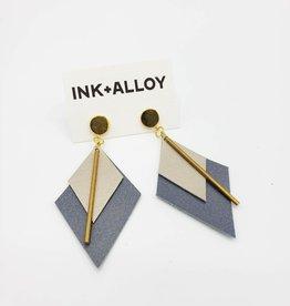 "Ink + Alloy Leather Diamond Earrings - Champagne & Slate 3.25"""