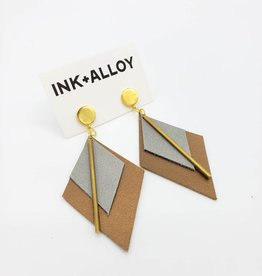 "Ink + Alloy 3.25"" Grey & Bronze Leather + Brass Diamond Earrings - INK+ALLOY"