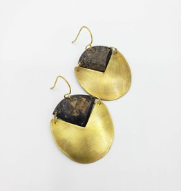 Padang Linked Oval Earrings - Dark Horn, Brass