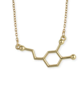 Chemical Reactions Dopamine Molecule Necklace - Gold Tone
