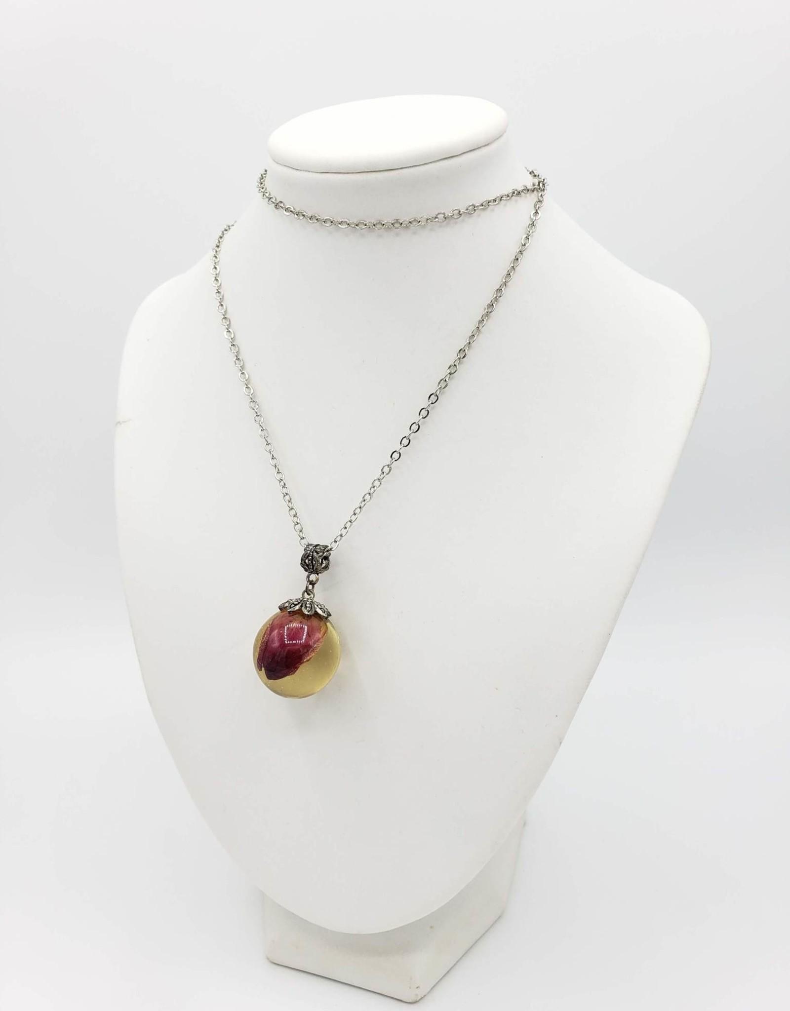 Rosebud Orb Resin Necklace