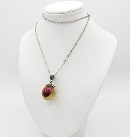 Rosebud Orb Resin Necklace