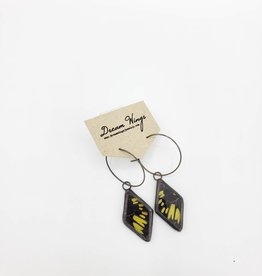 Dream Wings Spotted Yellowtail Butterfly Earrings - Triangle Hoop