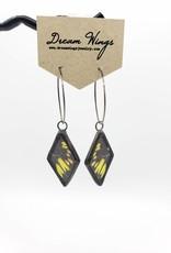 Dream Wings Spotted Yellowtail Butterfly Earrings - Triangle Hoop
