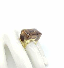 Coffee Bean Cube Resin Ring - sz. 6