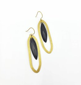 Banjar Floating Long Oval Earrings - Dark Horn, Brass
