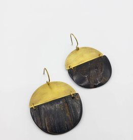 Malu Linked Circular Earrings - Dark Horn, Brass