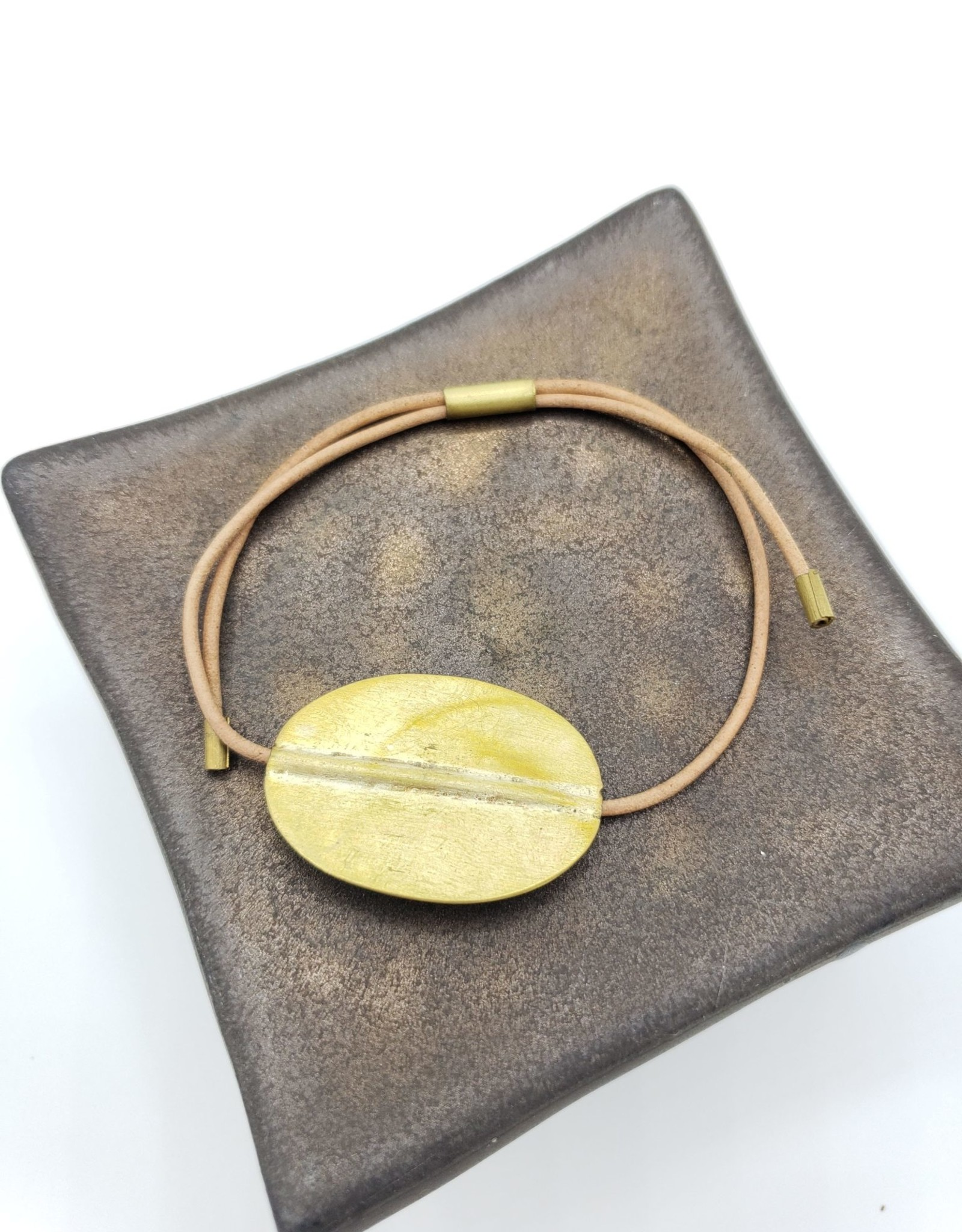 Aga Bracelet with Oval Brass, Natural Leather