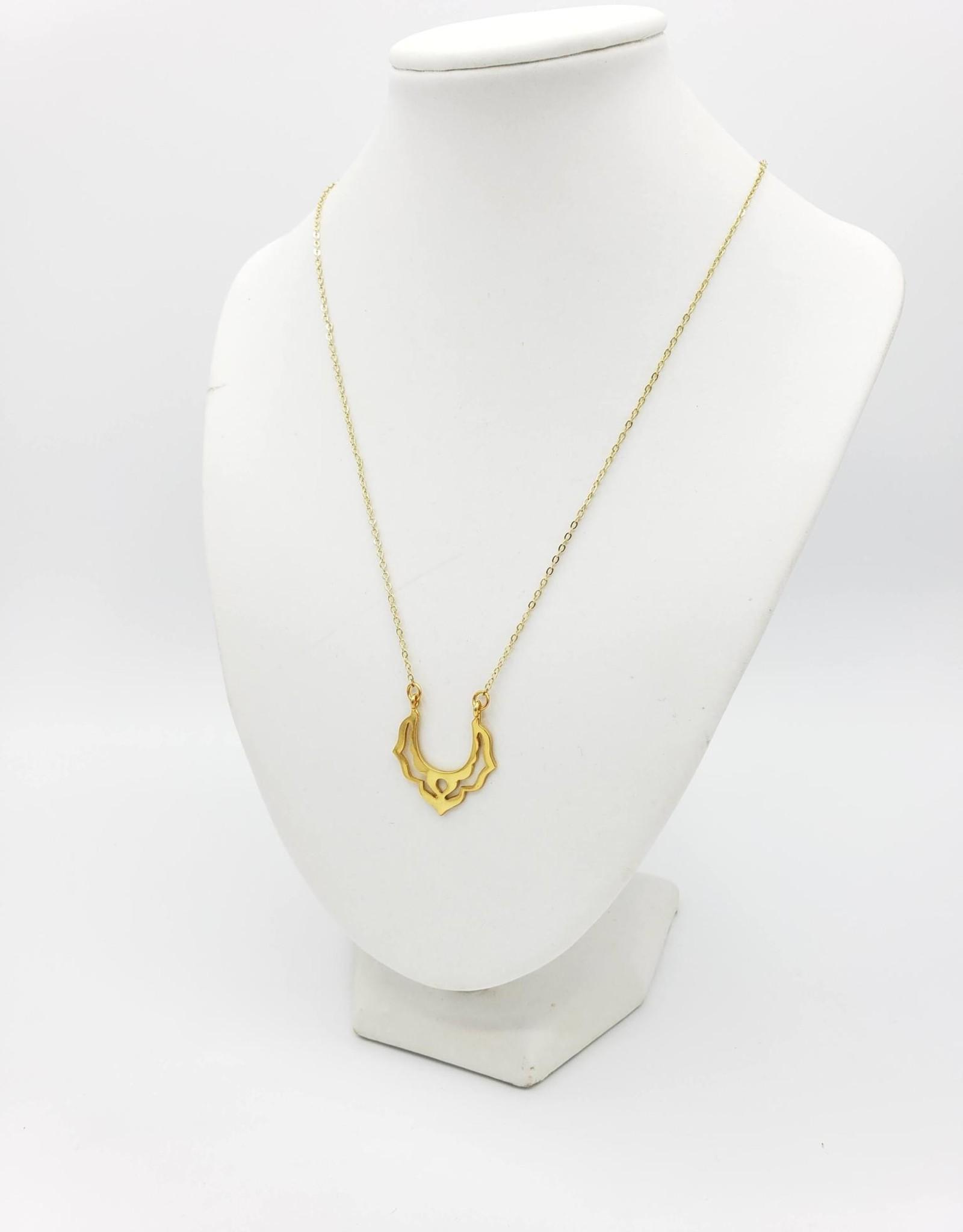 Mishakaudi Lotus Petal Necklace - gold plated