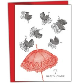 """It's a Baby Shower!"" Baby Greeting Card - Black and White and Red All Over"