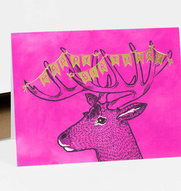 """Happy Birthday bunting and deer"" Greeting Card - Christa Pierce"