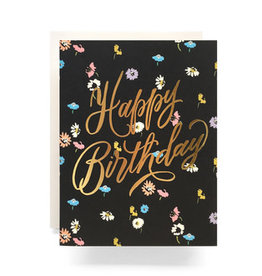 """Happy Birthday"" Gold Foil Floral Birthday Greeting Card - Antiquaria"