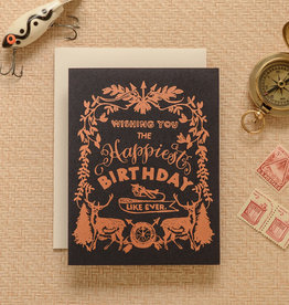 """Happiest Birthday"" Deer Crest Copper Foil Greeting Card - Antiquaria"