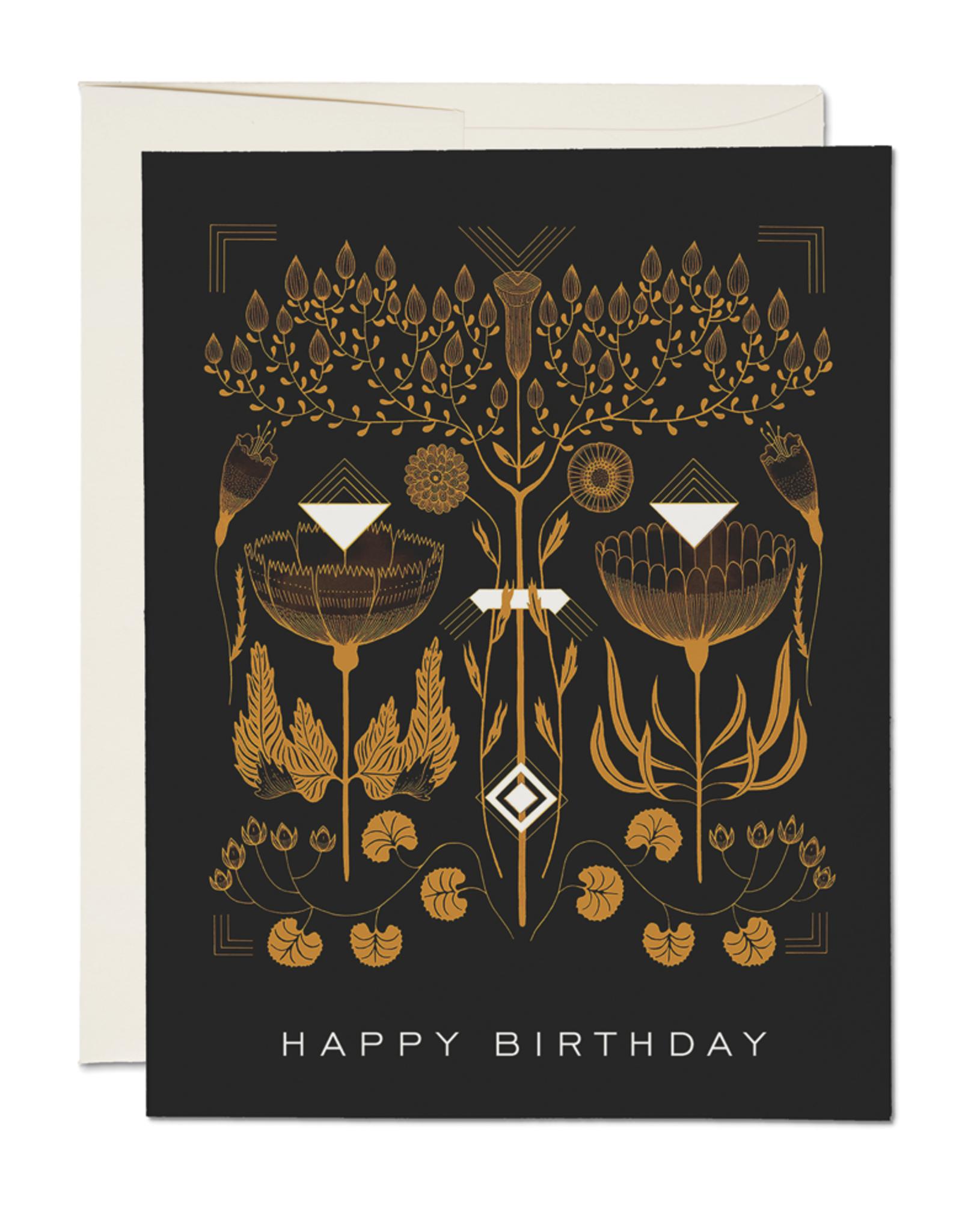"""Happy Birthday"" Black Deco Greeting Card - Red Cap"