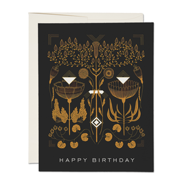 """Happy Birthday"" Black Deco Greeting Card - Red Cap"