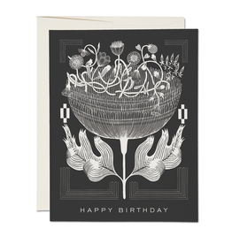 """Happy Birthday"" Navy & White Deco Greeting Card - Red Cap"