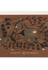 """""""Happy Birthday"""" Amber Floral Deco Greeting Card - Red Cap"""