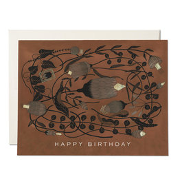 """Happy Birthday"" Amber Floral Deco Greeting Card - Red Cap"
