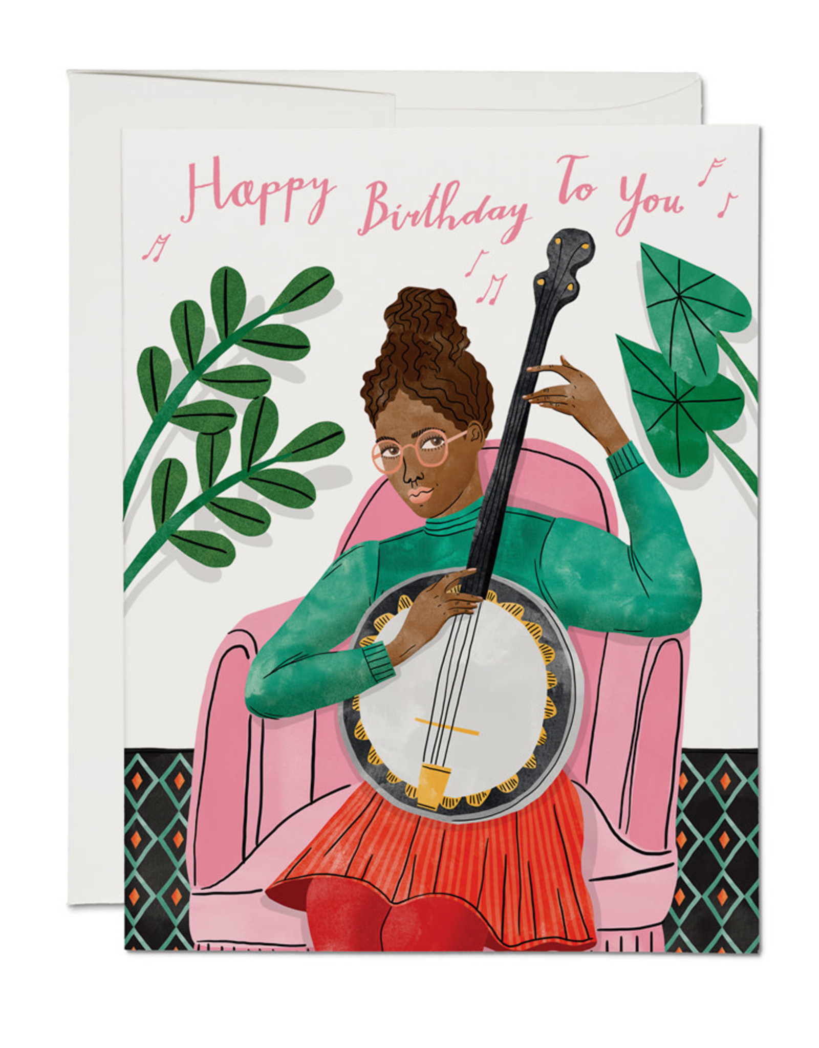 """Happy Birthday to you"" Banjo Greeting Card - Red Cap"