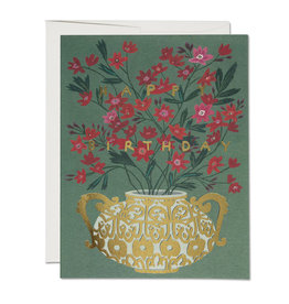 """Happy Birthday"" Gold Foil Flower Vase Greeting Card - Red Cap"