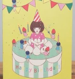 """Happy Birthday"" Cake Topper Girl Greeting Card - Naoshi"