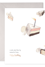 """Flying Cake"" Birthday Greeting Card - E. Frances Paper"