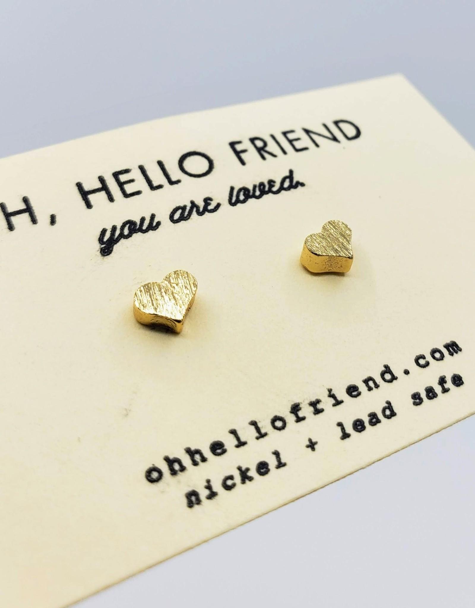 Oh, Hello Friend Tiny Gold Hearts - Geometric Stud Earrings