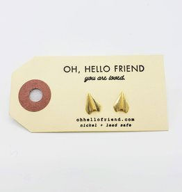 Oh, Hello Friend Gold Paper Airplanes - Geometric Stud Earrings