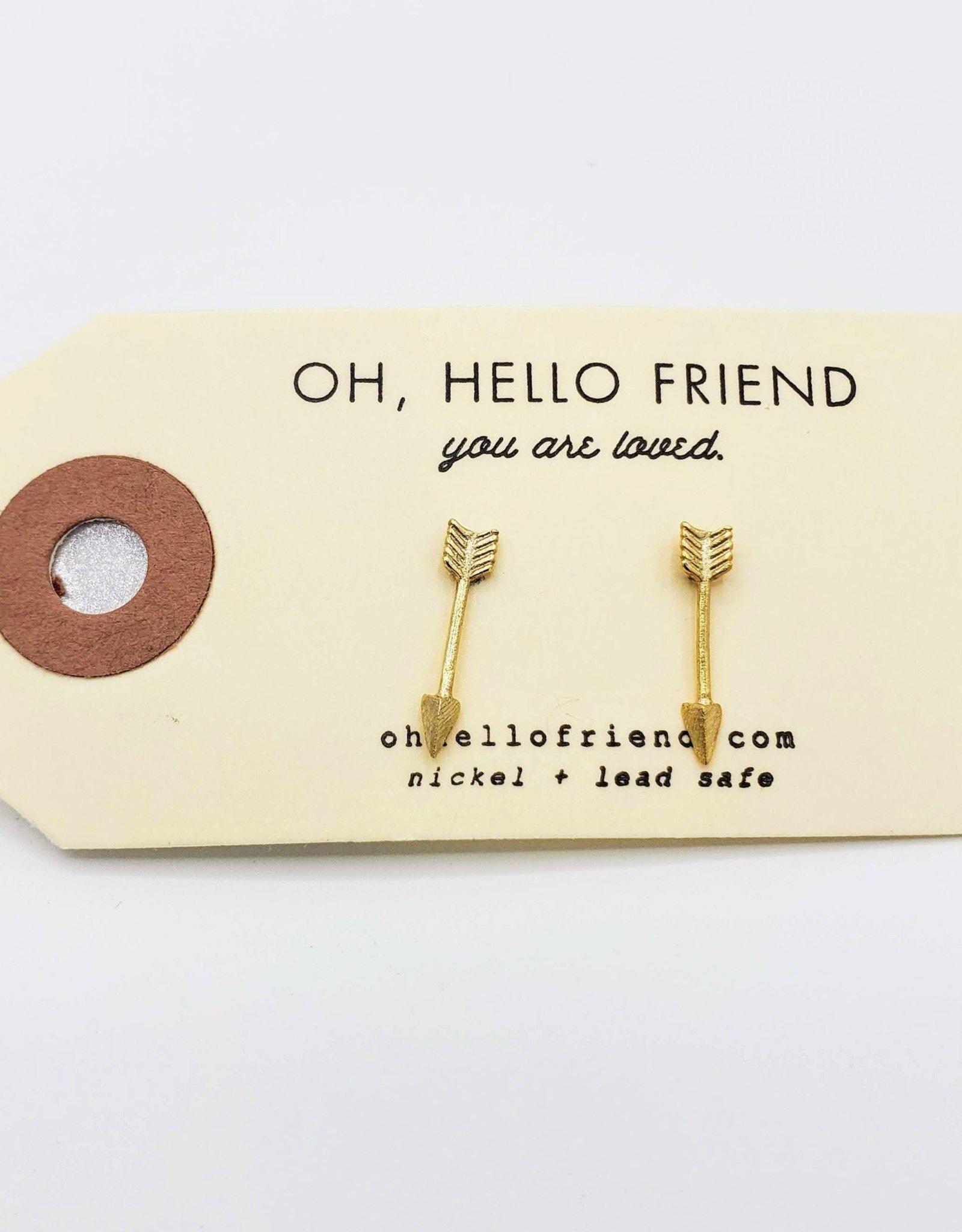Oh, Hello Friend Gold Arrows Geometric Stud Earrings