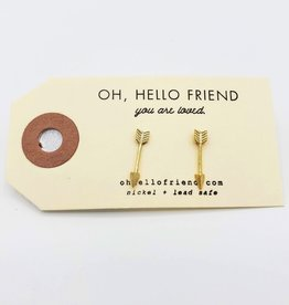 Oh, Hello Friend Gold Arrows Geometric Stud Earrings