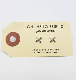 Oh, Hello Friend Silver X - Geometric Stud Earrings