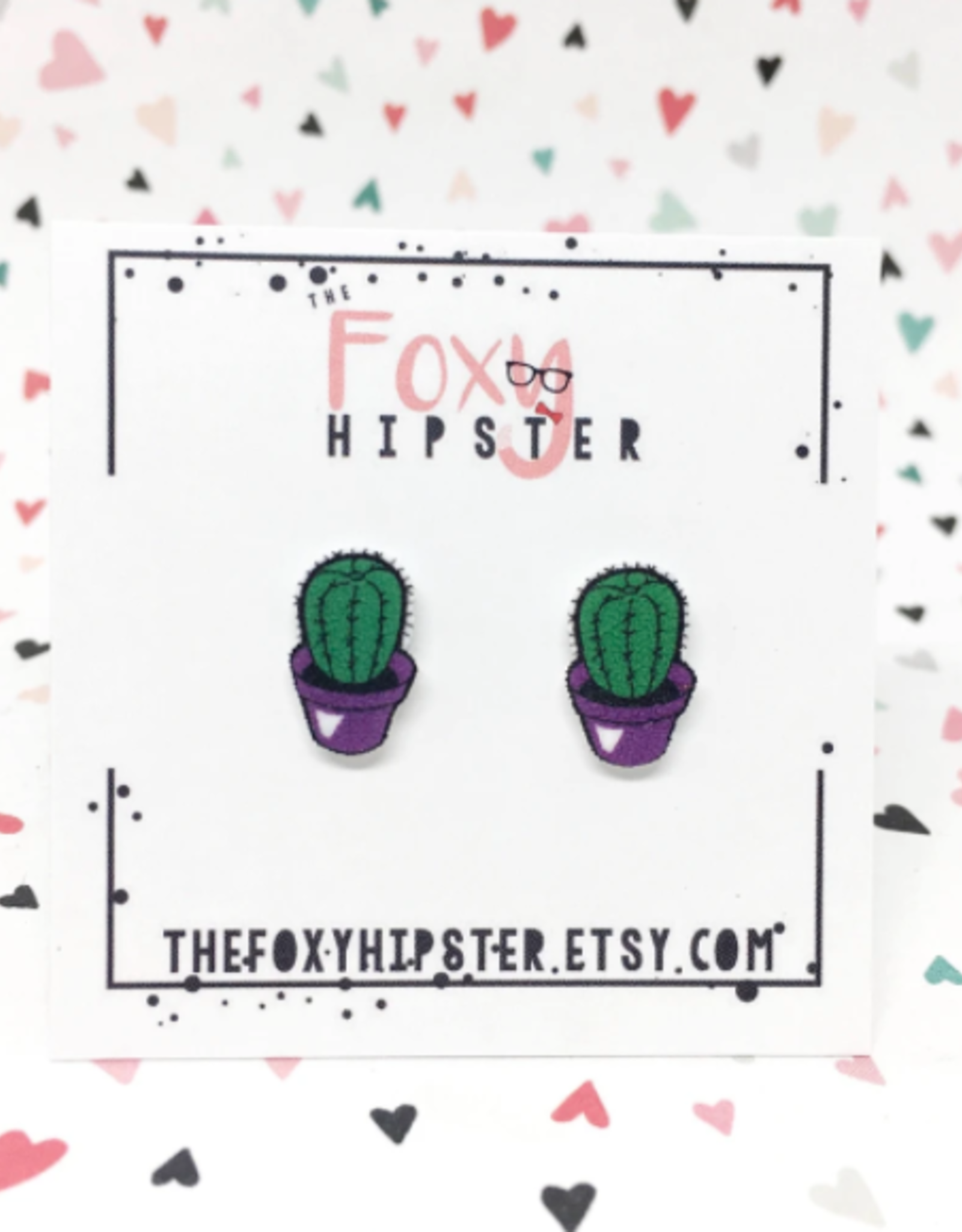 The Foxy Hipster Cactus Shrinky Dink Stud Earring - The Foxy Hipster