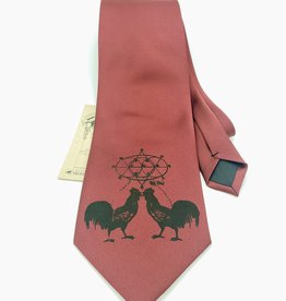 CyberOptix Rooster, Black Ink on Maroon - CyberOptix Tie