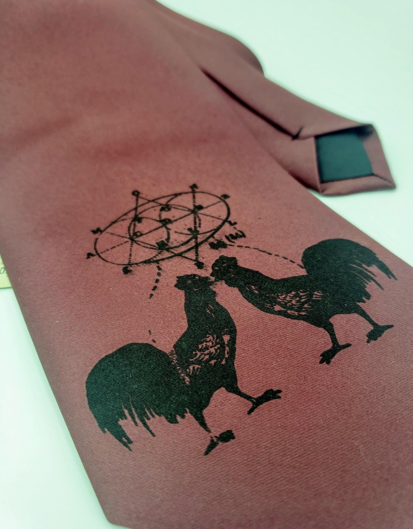 CyberOptix Rooster, Black Ink on Maroon - CyberOptix Tie