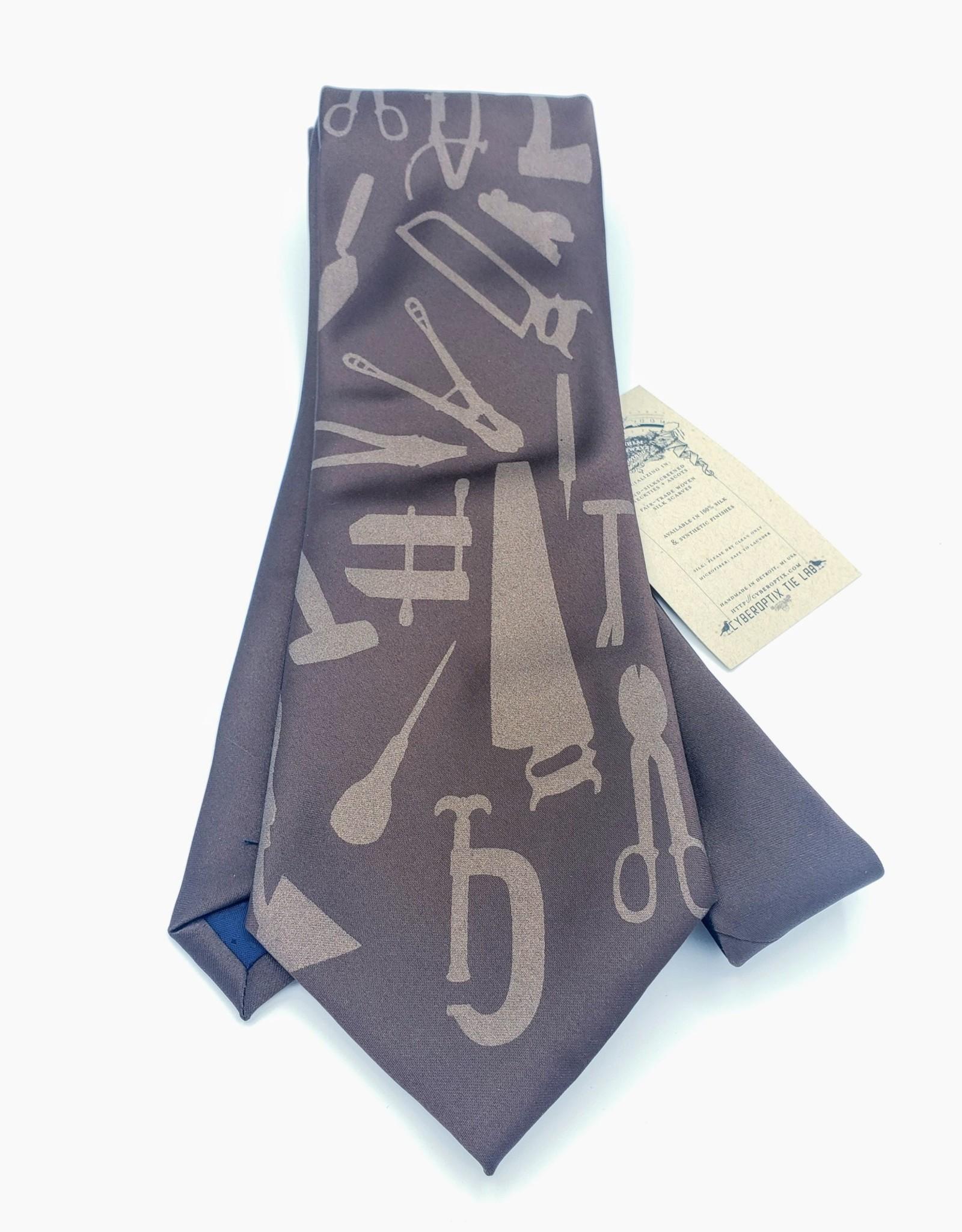 CyberOptix Tools, Bronze Ink on Brown - CyberOptix Tie