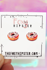 The Foxy Hipster Donut Shrinky Dink Post Earring - The Foxy Hipster