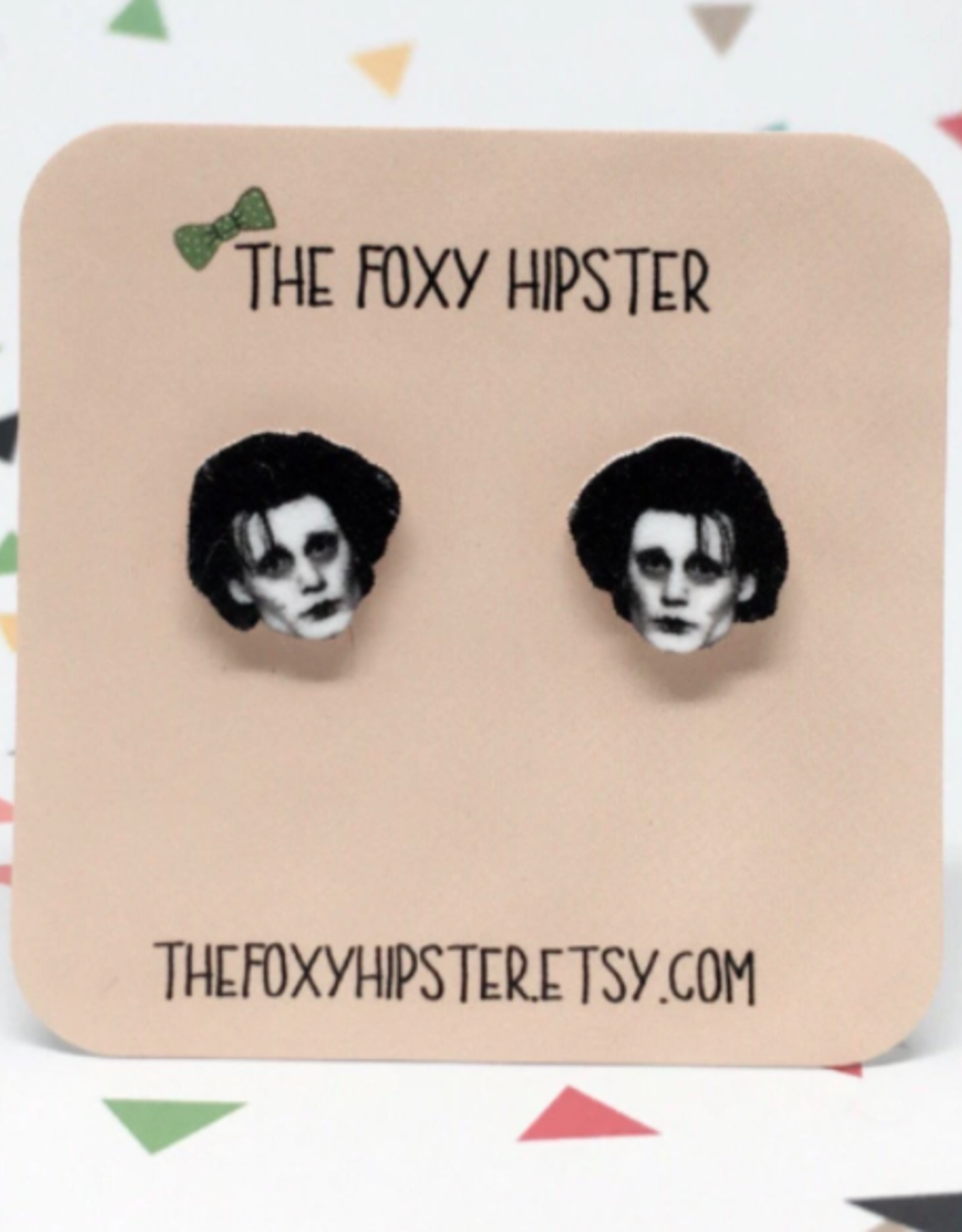The Foxy Hipster Edward Scissorhands Shrinky Dink Post Earrings - The Foxy Hipster