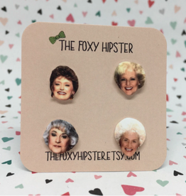The Foxy Hipster Golden Girls Shrinky Dink Earrings, Set of 4 - The Foxy Hipster