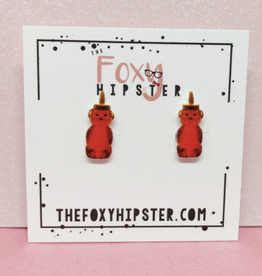 The Foxy Hipster Honey Bear Shrinky Dink Post Earrings - The Foxy Hipster