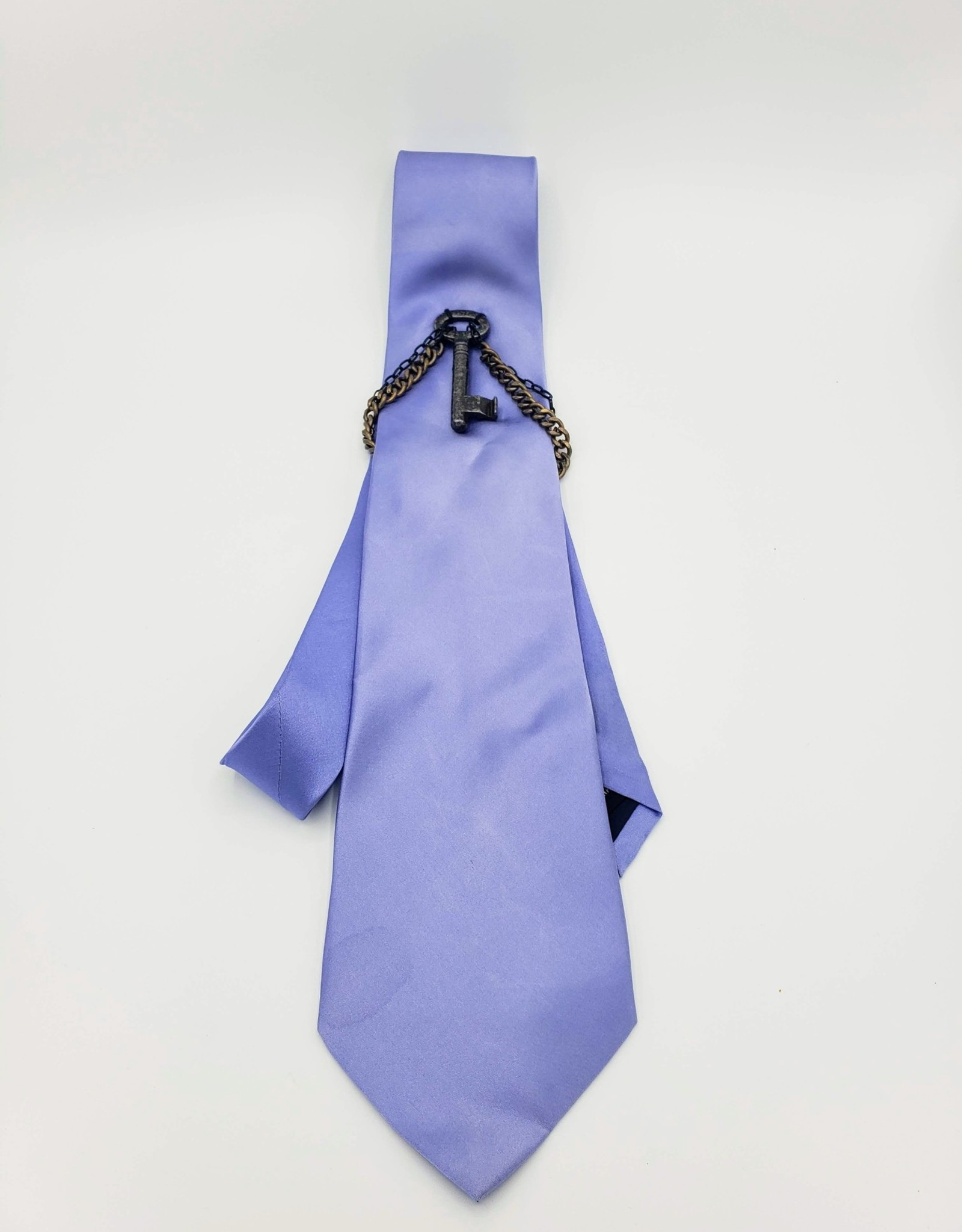 Redux Blue Microfiber Tie with Key Ornament and chains