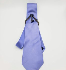 Blue Microfiber Tie with Key Ornament and chains